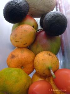Costa Rican fruit: pomegranates, avocados, mandarins, and mangoes