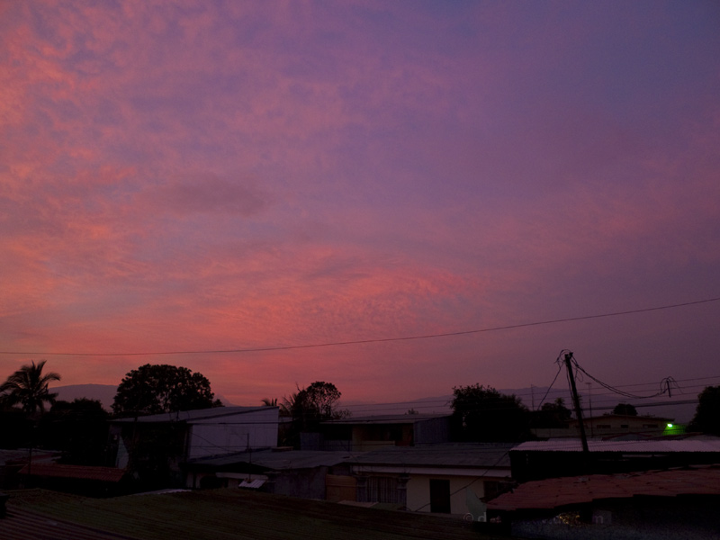 Pink and purple sky after the storm, Alajuela, Costa Rica