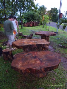 Mango wood tables, Bijagual de Turrubares, Costa Rica