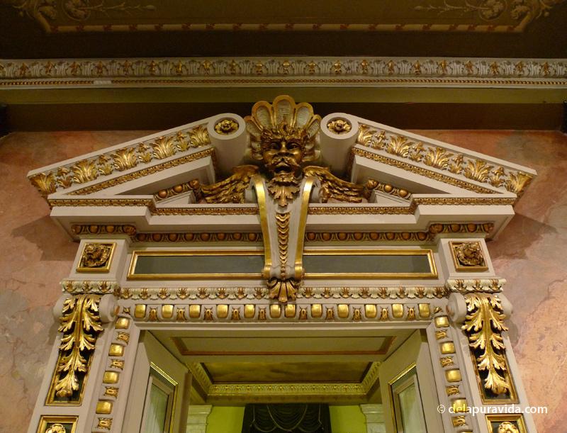 Door into restaurant in entry foyer, Teatro Nacional, San Jose, Costa Rica