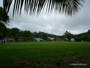 Downtown Pavones, Costa Rica. This is the 1st time we have ever seen a soccer field so close to the beach.