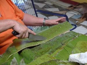 cutting plantains