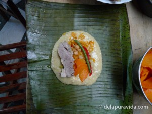 Inner content of tamale before cooking
