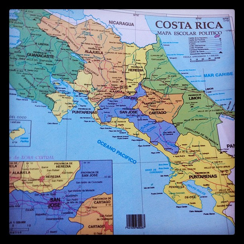 living in costa rica - costa rica map