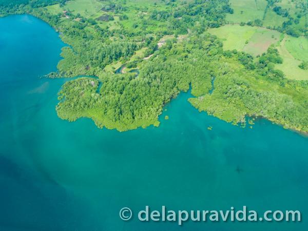 entering costa rica - aerial view of costa rica's beautiful coast