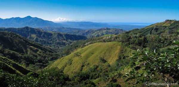 green rolling hills in costa rica in december