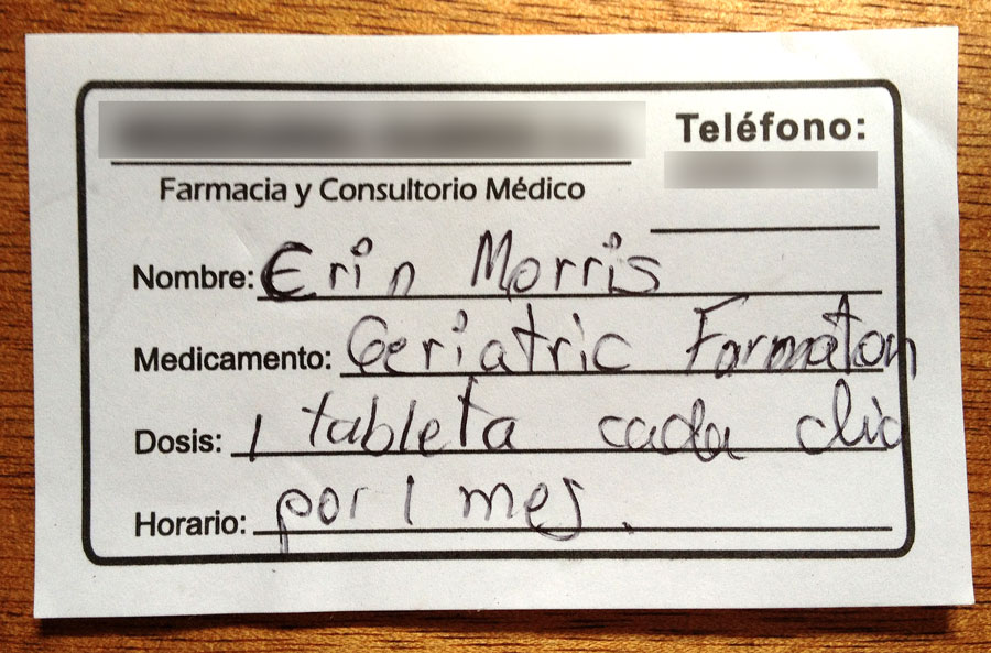 a written prescription for geriatric formula in Costa Rica