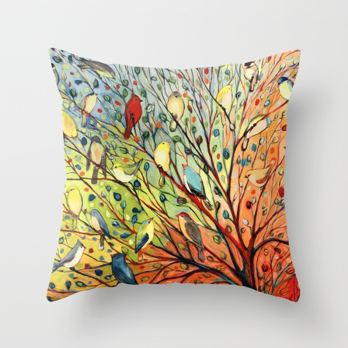 rainbow birds in a rainbow tree original art