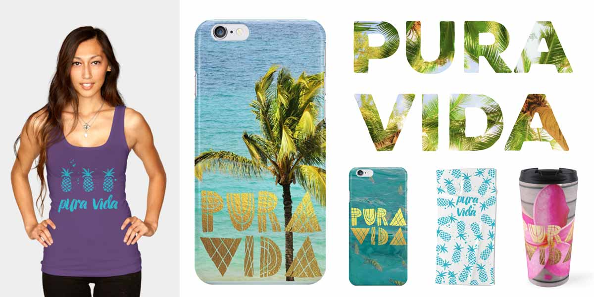 pura vida merchandise - clothing, cell phone skins and cases, beach towels, travel mugs