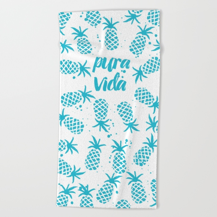 pura vida beach towel with pineapple design