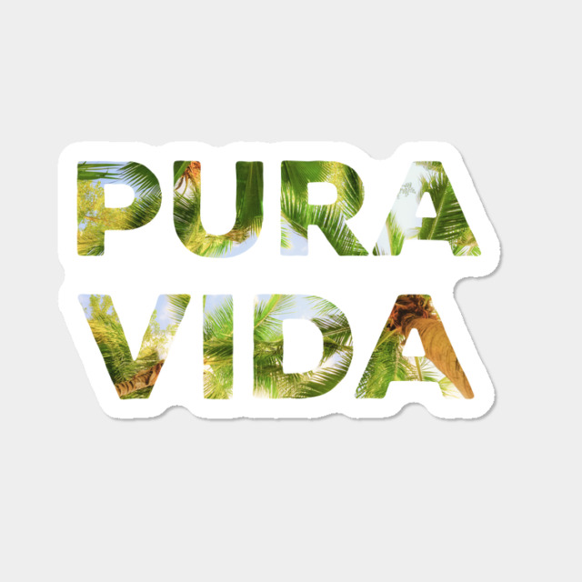 pura vida costa rica sticker with palm trees