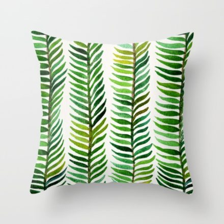 Hand painted watercolor seaweed design on a pillow produced by Society6.