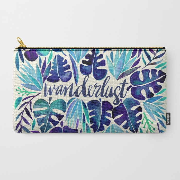 Original watercolor art for hearts with tropical wanderlust. cary-all pouch