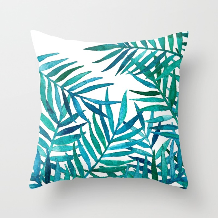 Hand painted watercolor palm leaves.