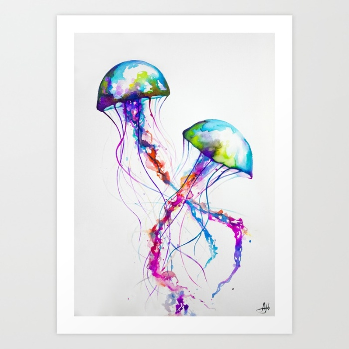 colorful jellyfish painting