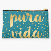 pura vida gold on teal design carry all pouch