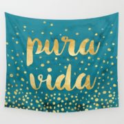 pura vida gold on teal tapestry