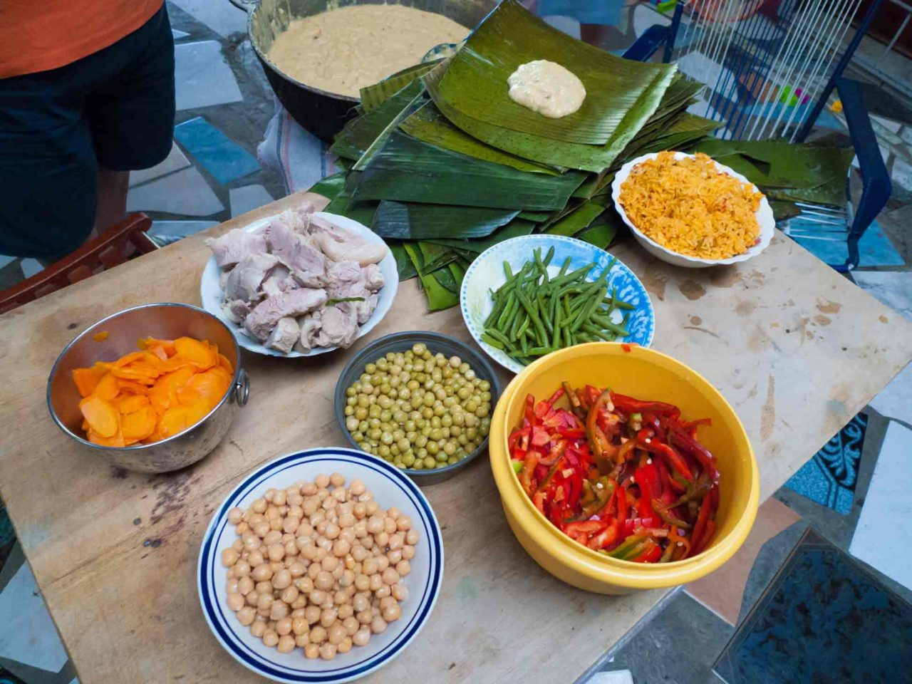 Costa Rican Tamales - a workstation makes the production line go faster. Recipe with photos