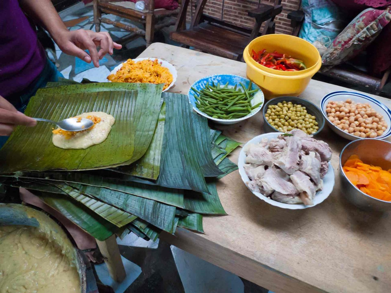 Costa Rican Tamales - adding the ingredients! Recipe with photos