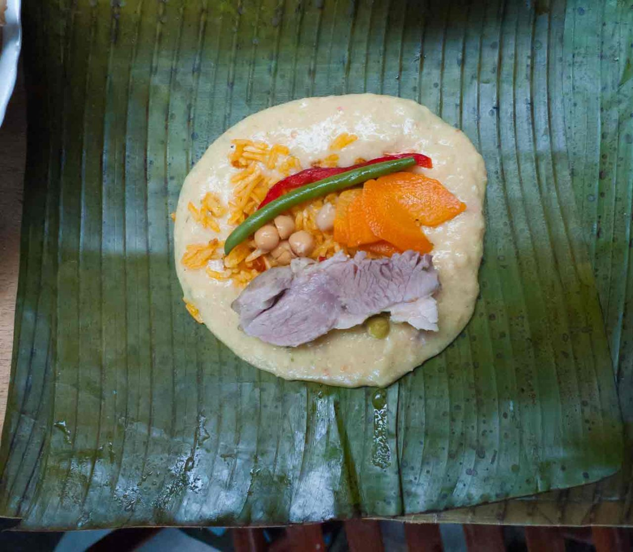 Costa Rican Tamales - How they look inside before they are cooked. Recipe with photos