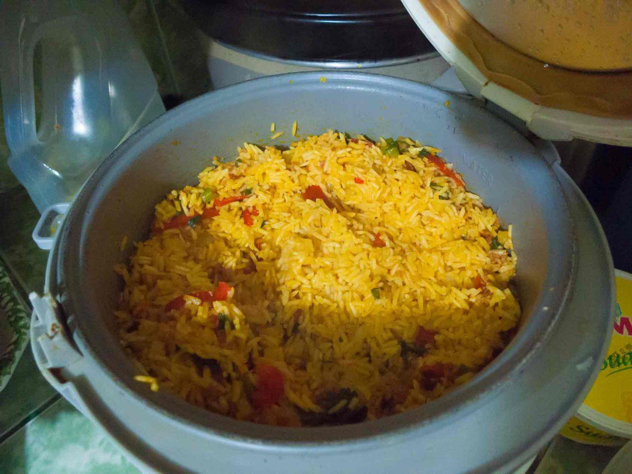Costa Rican Tamales - saffron rice mixture. Recipe with photos