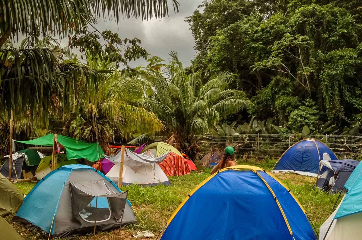 tents at a festival in the costa rican rainforest
