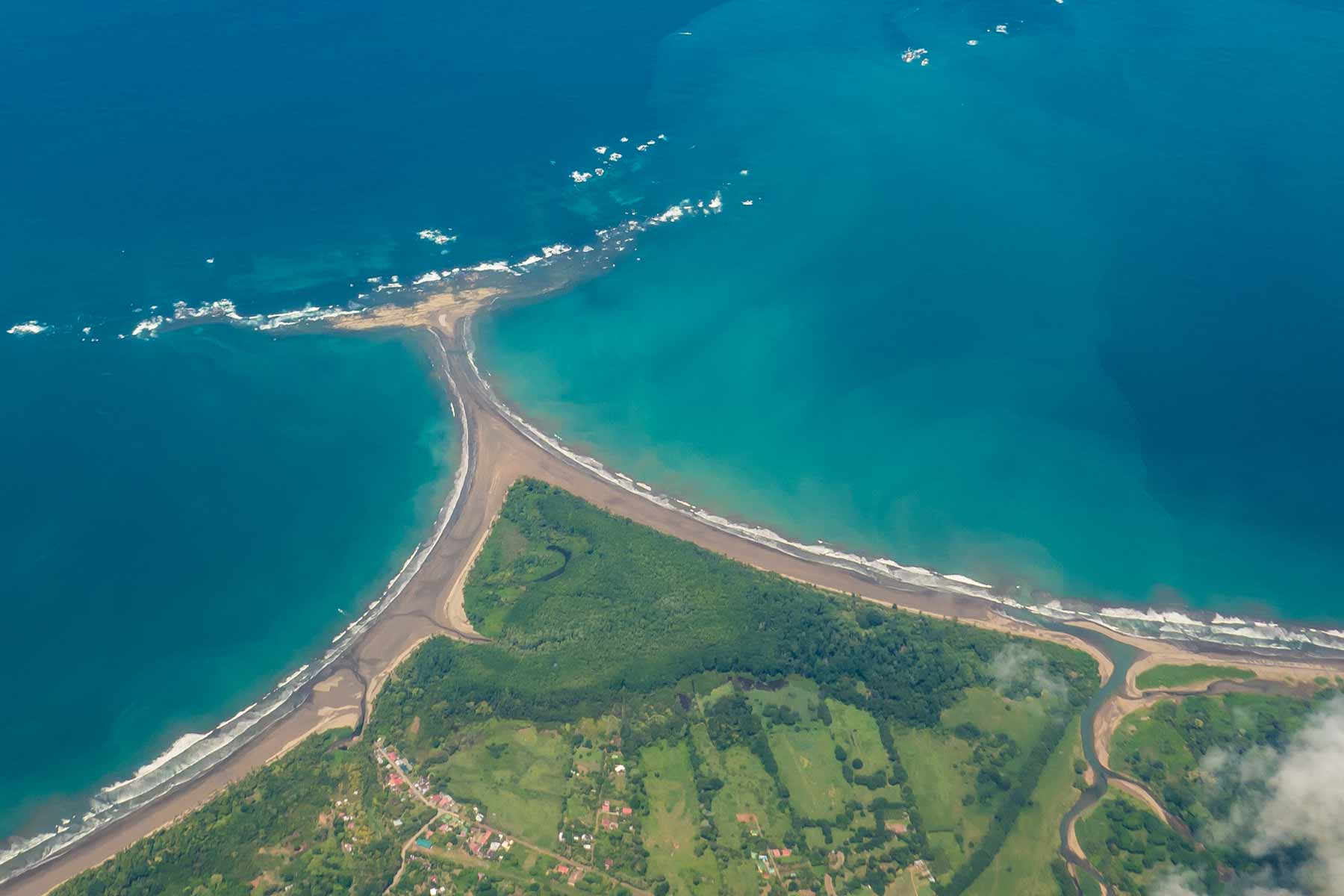 Aerial shot of the Whale's Tail in Marino Ballena National Park, Uvita, Costa Rica