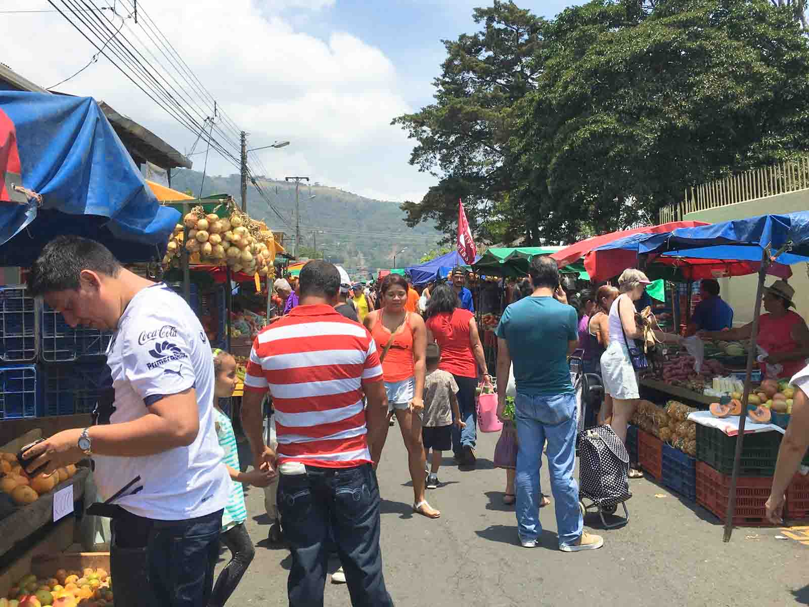 The feria, farmer's market, in Escazu, Costa Rica.