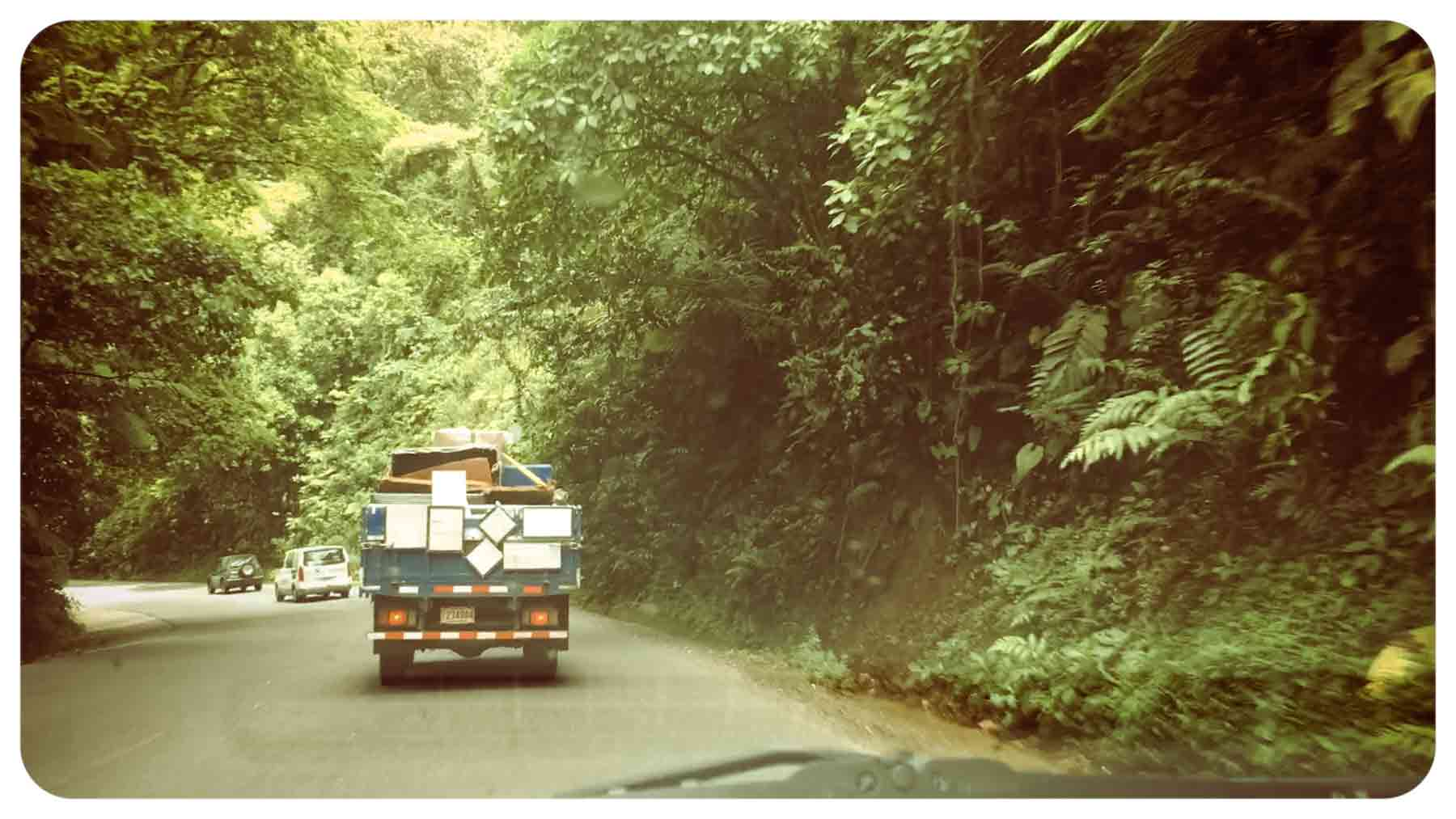 driving to the caribbean coast on the braulio carrillo highway in costa rica