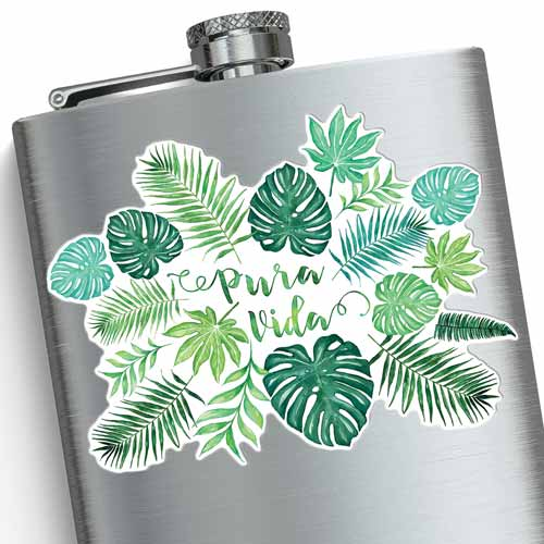 puravida monstera watercolor sticker on a flask copyright Erin Morris