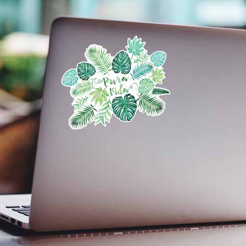pura vida monstera watercolor sticker on a laptop copyright Erin Morris