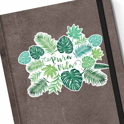 pura vida monstera watercolor sticker on a notebook copyright Erin Morris