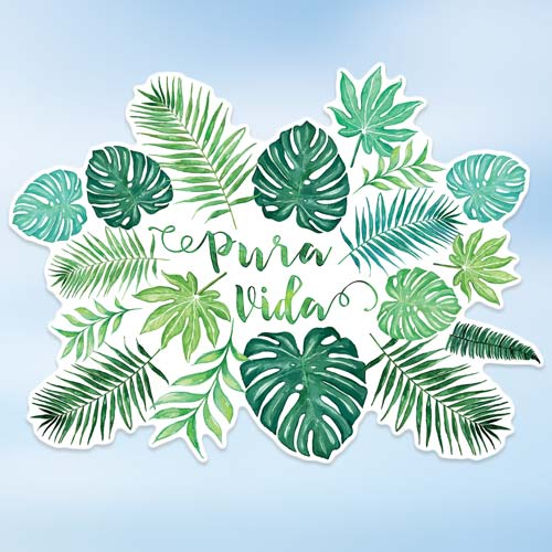 pura vida monstera watercolor sticker copyright Erin Morris