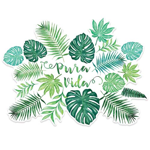 pura vida monstera watercolor sticker on white copyright Erin Morris